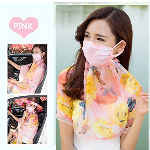 Sun-shade Sun Block Breathable Enlarge mask,Protect the face and neck Outdoor Cycling Fishing Good Mouth Masks For Summer (Pink)