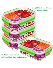PREMIUM QUALITY(4 PACK SET)Tritan 1050 ML 3 Compartment Glass Lunch box/Food Storage Containers - Meal Prep Glass Containers Set - Reusable Microwave ,Oven, Freezer & Dishwasher Safe BPA Free Lunch Containers with Smart For Snap Locking Tritan Lid Guarantee 100% Airtight Leakproof