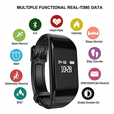 Helonge Fitness Tracker, Sports Activity Tracker, Waterproof Smart Wrist Watch with Heart Rate Monitor, Sleep Monitor, Sedentary Reminder etc, Multi Scene Control, Customized your Lifestyle