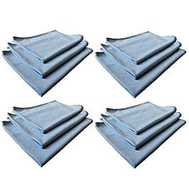Real Clean 16×16 Blue Microfiber Window Glass Cleaning Towels (Pack of 12)