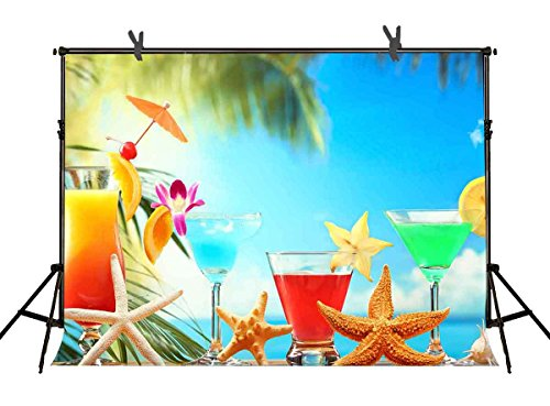 7x5ft Cartoon Beach Scenery Backdrop Fruit Juice Cocktail Starfish Photography Background for Children Vacation Photo Booth Backdrop Props (Halloween Fruit Cocktails)
