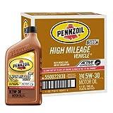 Pennzoil High Mileage Vehicle 5W30 Motor Oil - 1 Quart Bottle, Pack of 6
