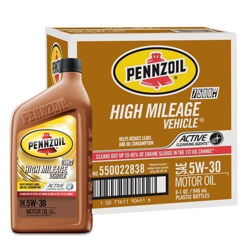 Pennzoil High Mileage Vehicle 5W30 Motor Oil - 1 Quart Bottle, Pack of 6