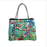 Neoprene Multipurpose Beach Bag Tote Bags,Board Game,Swirled Snakes and Ladders Start and Finishing Line Clouds Crown Winner Childish Decorative,Multicolor,Women Casual Handbag Tote Bags