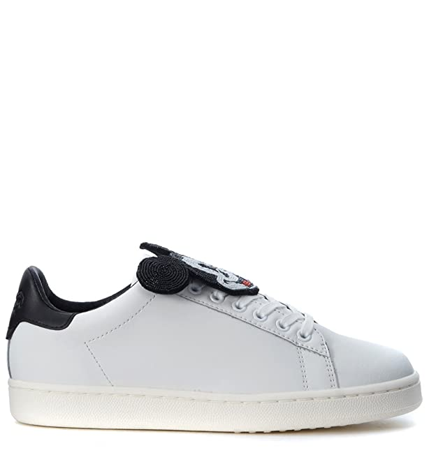 Moa Sneaker Leder Weiss Mit Mickey Mouse: : Schuhe