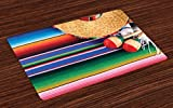 Lunarable Mexican Place Mats Set of 4, Mexican Culture Theme with Sombrero Straw Hat Maracas Serape Blanket Rug Picture, Washable Fabric Placemats for Dining Room Kitchen Table Decoration, Multicolor