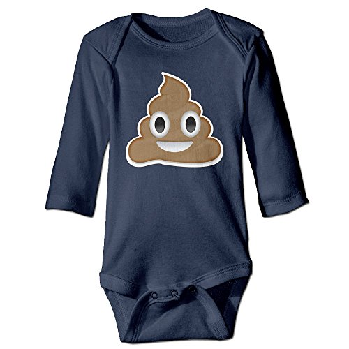 (HYRONE Cute Poop Smiley Face Baby Bodysuit Long Sleeve Romper Suits Size 24 Months Navy)