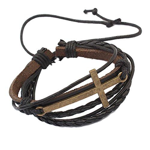 Fashion Criss Cross Leather Bracelet Religious Christian Surfer Wrap Rope Bangle for Men