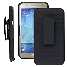 SOJITEK Samsung J7 Black Holster Case 2 in 1 Hybrid Hard Shell Holster Combo With Kickstand & Belt Clip