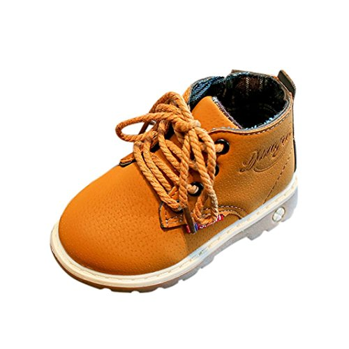 Igemy 1Paar Kinder Mode Jungen Mädchen Martin Sneaker Stiefel schnüren sich oben Kinderbaby beiläufig Schuhe Gelb