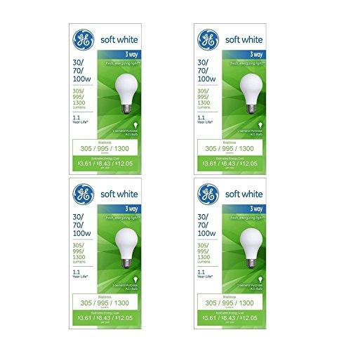 GE Lighting 97493 30-Watt - 70-Watt - 100-Watt A21 3-Way, Soft White, 4-Pack ()