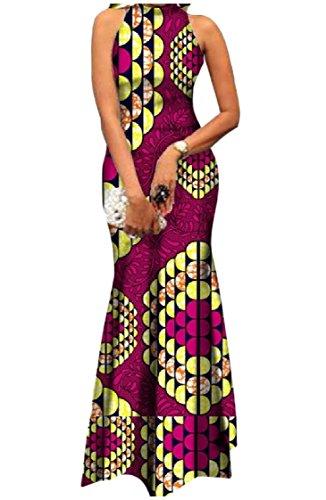 Sleeveless Coolred Dress Evening Women Floral African 8 Dashiki Party Cotton BCFxU