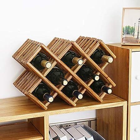 LTLWSH Estante para Botellas de Vino – Botelleros de Madera para Vino u Otras Bebidas – Vinoteca de Madera para 5 Botellas, Organizador rústico para decoración de mostrador,8bottles