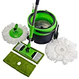 NFHOME Space Saving Microfiber Spin Mop & Flat Spin Mop Bucket Floor Cleaning System with Microfiber Spin Mop and Flat Mop Heads Refill, Green