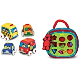 Melissa & Doug Pull Back Vehicles and Take-Along Shape Sorter Bundle