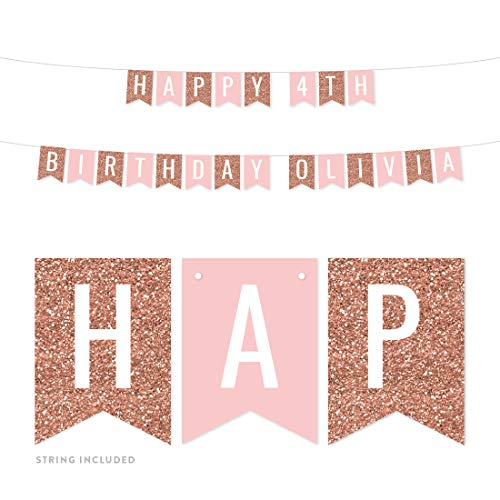 Andaz Press Personalized Hanging Pennant Banner Party Decorations, Rose Gold Glitter, Blush Pink, Happy 4th Birthday Olivia, 1-Pack, Approx. 5-Feet, Custom Name and Number