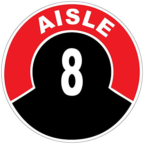 Aisle 8 Red Black Anti-Slip Floor Sticker Decal 17 in longest side (Store Aisle Signs)