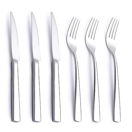 AMOMGard - Juego de Cuchillos y Tenedor para Carne (6 Piezas, para ...