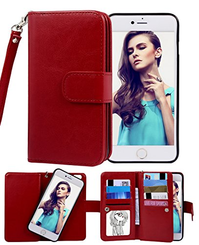 iPhone 6 Case, Crosspace Flip Wallet Case Premium PU Leather 2-in-1 Protective Magnetic Shell with Credit Card Holder/Slots and Wrist Lanyard for Apple Iphone 6 4.7inch (Red) (Retro Camera Iphone 4 Case)