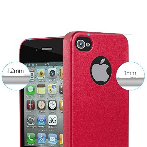 Cadorabo - Cubierta Protectora para Apple iPhone 4 / 4S de Silicona TPU con Efecto Metálico Mate