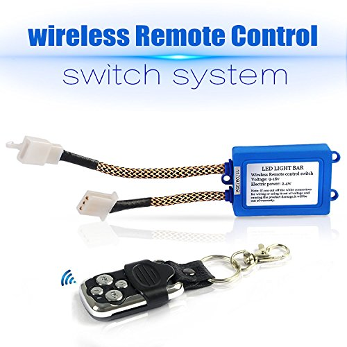 JHE LED Light Bar Remote Control Switch,Relay Wiring Harness Remote Switch,Wireless Control ON/OFF Strobe Flash Pulse for LED Light Bar Wire Harness/Fog Light Wire Harness and Spot Light Wire Harness (Relay Remote Box)