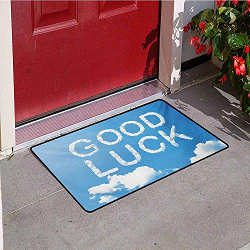 Going Away Party Front Door mat Carpet Good Luck Message on Sky with White Clouds Wishful Thinking Art Print Machine Washable Door mat W47.2 x L60 Inch Sky Blue White