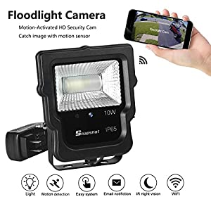 Floodlight Camera Motion-Activated 450 Lm Daylight White,LTE 10W Waterproof Outdoor LED security Motion Sensor light 5700K with Hidden WIFI camera built-in 60 degree Night Vision/Motion