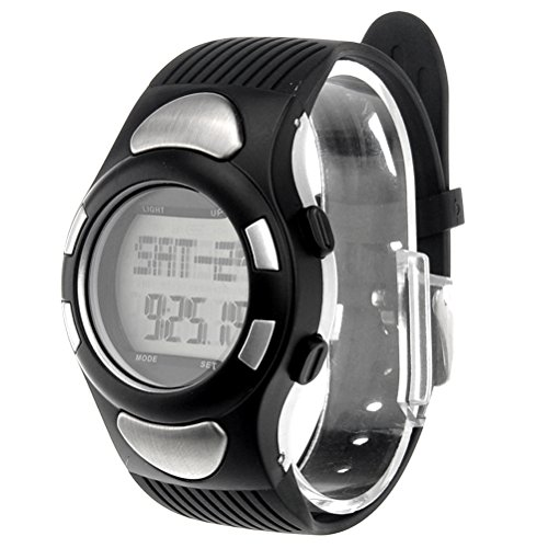 Pixnor All-in-one Digital Heart Rate Wrist Watch with Pedometer Alarm Calendar Calorie Counter Stopwatch EL Backlight