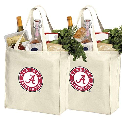 Reusable Alabama Shopping Bags or Alabama Grocery Bag 2Pc Set Natural -