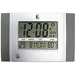 Silver Wall Clock with Radio Control
