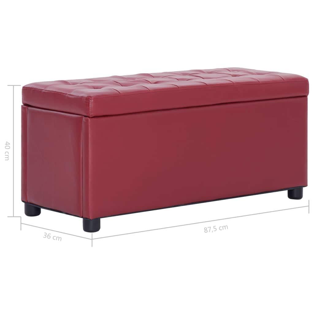 vidaXL Cassapanca Pouf con Contenitore Sedile Imbottito Ottomana Panchina Poggiapiedi Cassa Portaoggetti 87,5 cm Rosso Vino in Similpelle