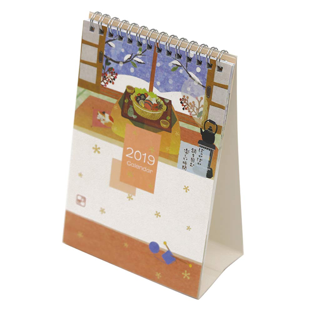 Olpchee Simple Stand Up 2019 Desk Calendar with PVC Cover for School Office Supplies (Snow)