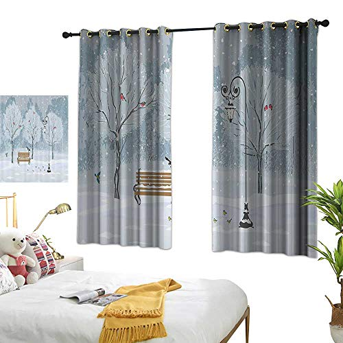 Living Room Curtains Farm House Decor,Snow Falling in The Park on a Cold Winter Day Birds Lanterns Chirstmas Season Picture,Blue White 63