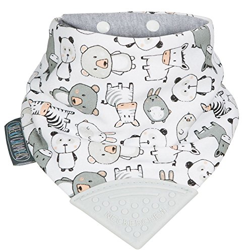The Original Chewy Teething Bib : Super Absorbent Reversible Bandana Drool Bib For Teething Babies. Food-Grade Silicon Teethers are BPA and Phtalates-Free | Panda Pals Neckerchew by CHEEKY (Vermont Baby Bib)
