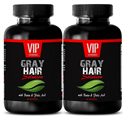 energy and focus supplement - GRAY HAIR SOLUTION - WITH BIOTIN & FOLIC ACID - saw palmetto bulk supplements - 2 Bottles (120 Capsules)