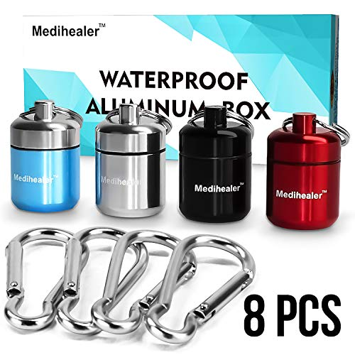 Waterproof Aluminum Pill Box with Keychains -Portable Travel Pill Case Drug Container for First Aid Medicine and Earplugs, Handy for Outdoor Travel Hiking Camping - 4 Cases + 4 Carabiners