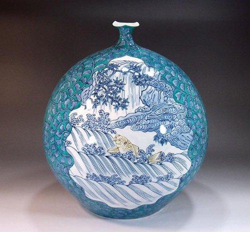 有田焼伊万里焼 花瓶陶器花器壺 贈答品 高級ギフト 記念品 贈り物 鯉猿鹿景図藤井錦彩 B00HQZTIT6