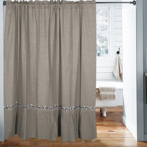 Cottage Cotton Curtain - Piper Classics Farmhouse Cotton Shower Curtain, 72 x 72, Taupe-Grey, Farmhouse Decor Style Bath Accent with Embroidered Cotton Garland ...