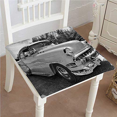 Classic Decorative Chair pad Seat 60s Retro Classic Pin Up Style Cars in Hollywood Movies Image Artwork Black Cushion with Memory Filling 20