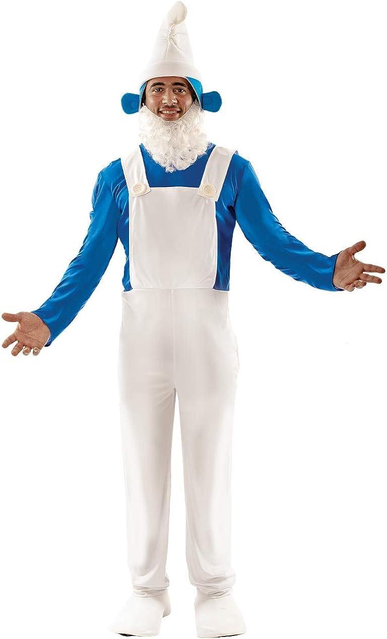 Ladies White /& Blue Garden Gnome Fancy Dress Complete Smurf Costume