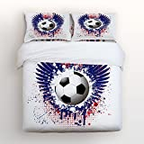Z&L Home World Cup Soccer Games Bedding Sets King Size Soccer Ball Decorative 4 Pieces Duvet Cover Set Luxury Soft Flat Sheet Set with Pillow Case for Teen Girls Boys Men Women Children Kids
