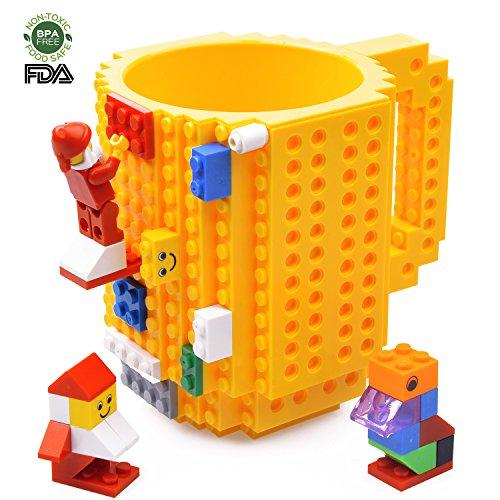 Creative DIY Build-on Brick Mug Lego Style Puzzle Mugs, Building Blocks Coffee Mug, Birthday Gift Toy For Boy & Girl, By Kyonne TM (yellow)