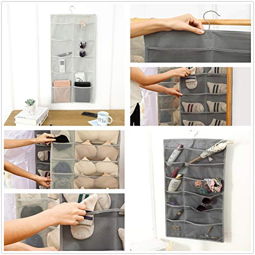 Hoomzia Hanging Closet Organizer Space Saver Bags, 15-Pocket Dual Sided Wall Shelf Wardrobe Organizers Storage Bags Oxford Cloth with Hanger (Grey)