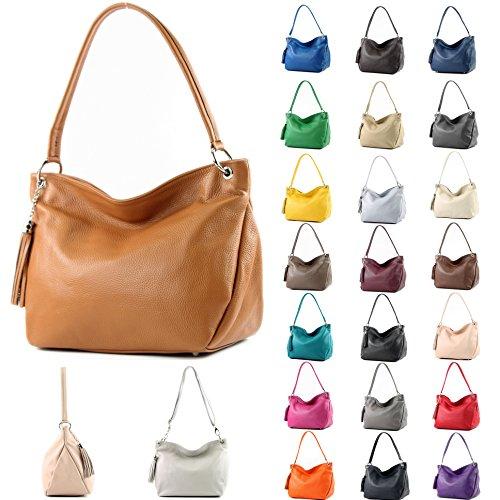 de Shoulder T154 Leather Bag Shoulder Case Leather Cognac ital Bag Genuine modamoda AwHZqTT