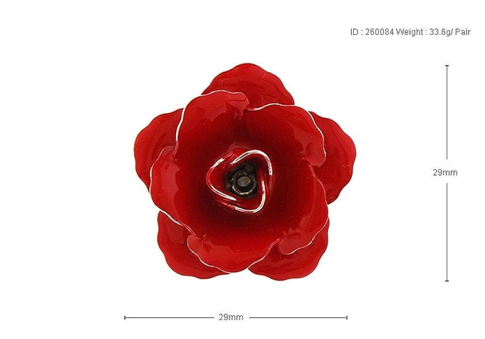 Lucky Bloom flor Pin de solapa plata tono rojo esmalte flores de ...