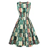 Luoqi Clothing Christmas Vintage Bridesmaid Flowy Dresses for Women Plus Size Midi Business Dress(Green,L)