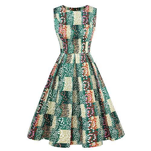 Luoqi Clothing Women Christmas Vintage 1960s Retro Rockabilly Cocktail Tea A-Line Midi Dress Sleeveless Green 3X Large -