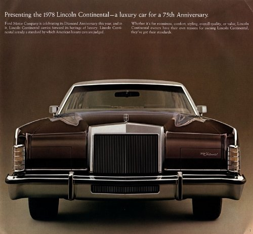 1978 LINCOLN CONTINENTAL VINTAGE PRESTIGE COLOR SALES BROCHURE - NICE - USA !! CONTINENTAL COUPE & SEDAN, TOWN COUPE & TOWN CAR, WILLIAMSBURG TOWN CAR - GREAT ORIGINAL !!