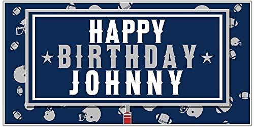 Football Party Blue and White Personalized Birthday Banner Decoration]()