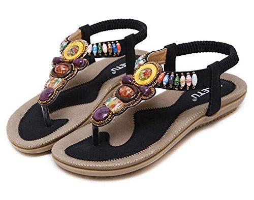 Bohemian con piatte scarpe Sandali di donna grandi da KUKI dimensioni perline 3 XxntqHw